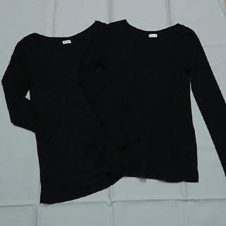 プラステ(PLST)のPLSTプラステ長袖Tシャツ八分袖黒二枚セットML(Tシャツ(長袖/七分))
