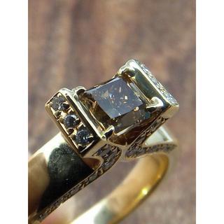 個性的!メインはブラウンプリンセス!K18ダイヤリング 19号(リング(指輪))
