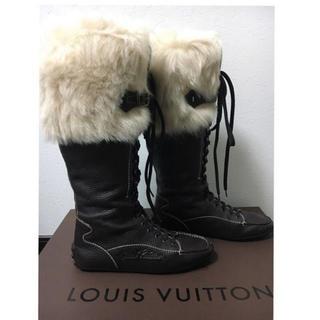 ルイヴィトン(LOUIS VUITTON)のルイヴィトン ロングブーツ ファーブーツ 23.5cm 24cm 1度のみ着用(ブーツ)