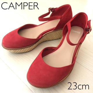 カンペール(CAMPER)のCAMPER カンペール ウェッジソール サンダル 赤 23(サンダル)