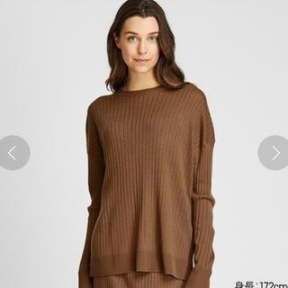 ユニクロ(UNIQLO)の新品未使用 ユニクロ メリノブレンドリブクルーネックセーター(長袖)(ニット/セーター)