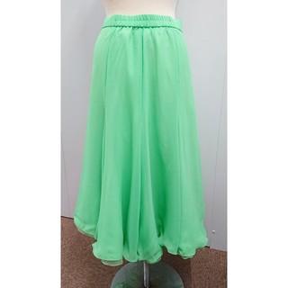 UNA製ジョーゼットダンススカートグリーン(ロングスカート)