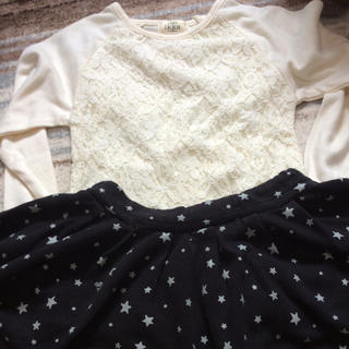 イッカ(ikka)のlkkaトップスとpomponetteスカートセット(Tシャツ/カットソー)