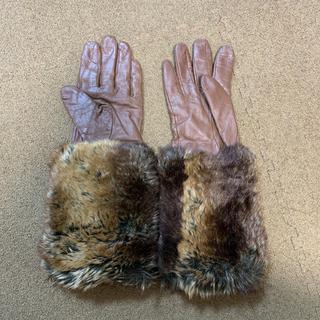 ザラ(ZARA)のZARA 人気 ファー付きグローブ ブラウン(手袋)
