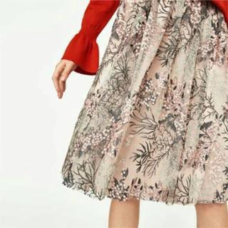ザラ(ZARA)のザラ 刺繍 チュールスカート(ひざ丈スカート)