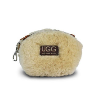 アグ(UGG)の【新品】アグ  UGG ファー ポーチ コインケース 本革 クリーム色 ホワイト(コインケース)