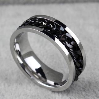 特価!ブラックチェーンのステンレスリング 12、13号(リング(指輪))