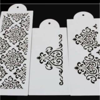 ダマスク フォンダンサイドベーキング ステンシル ハンドメイド ブライダル 新品(型紙/パターン)