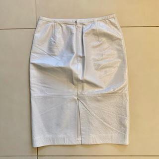 ルシェルブルー(LE CIEL BLEU)の【お値下げしました♪】LE CIEL BLEU   ひざ丈 レザー スカート(ひざ丈スカート)