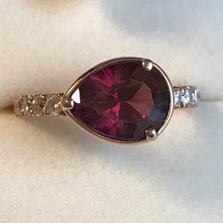10号 k18 ロードライトガーネット ダイヤモンド コメット リング(リング(指輪))