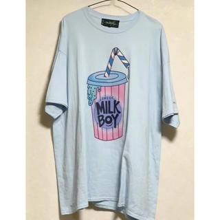 ミルクボーイ(MILKBOY)の【MILKBOY】ドリンク Tシャツ 水色(Tシャツ/カットソー(半袖/袖なし))