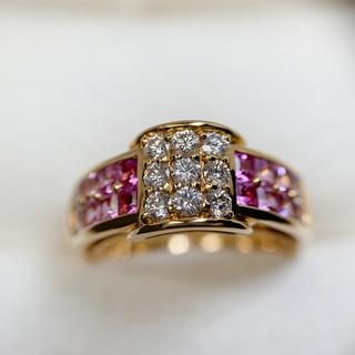 ジュネ yg750 サファイア ダイヤモンド リング(リング(指輪))
