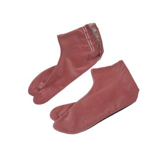 別珍足袋、新品、ローズ、22.0cm(下駄/草履)