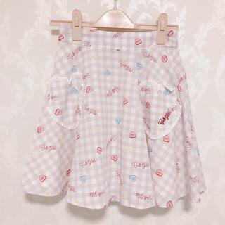 アンクルージュ(Ank Rouge)のAnkrouge ハートチェック柄 スカート ピンク(ミニスカート)