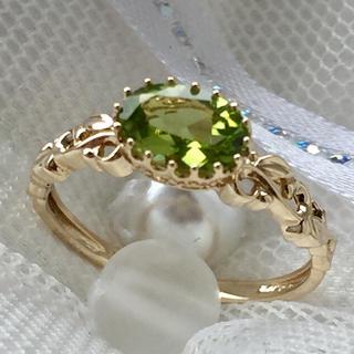 新品 天然ペリドット×K10YG リング 10金イエローゴールド指輪(リング(指輪))