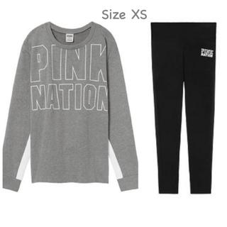 ヴィクトリアズシークレット(Victoria's Secret)の【SALE❤️新品】VS PINK NATION セットアップ グレーx黒 XS(トレーナー/スウェット)