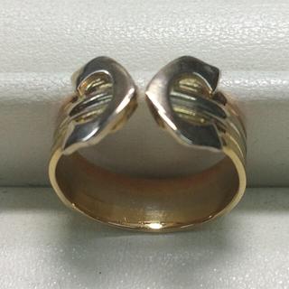 ★サイズ8号★K18スリーカラー・デザインリング★フリータイプ(リング(指輪))