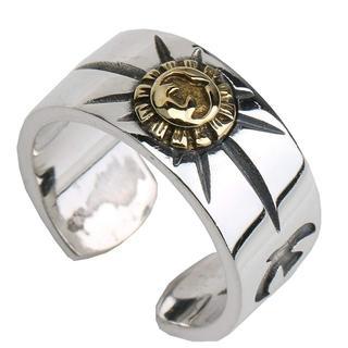 シルバー925 Goldイーグル メタル リング インディアンジュエリー 太陽神(リング(指輪))