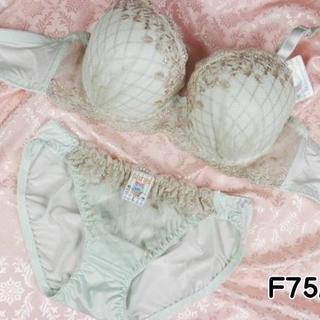 032★F75 L★ブラ ショーツ ダイアチェック刺繍 アイスグリーン(ブラ&ショーツセット)