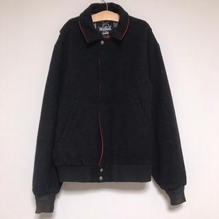 ウールリッチ(WOOLRICH)のUSA製 Woolrich ウール ジャケット メルトン チェック 黒 ブラック(ブルゾン)