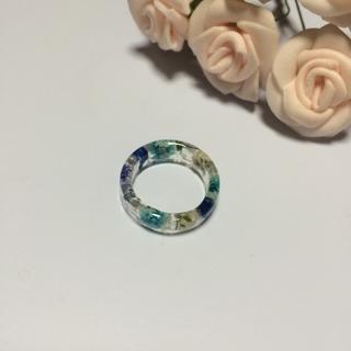 ブルー系かすみ草のリング☆(リング(指輪))