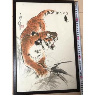 中国絵 掛軸 額装(絵画/タペストリー)