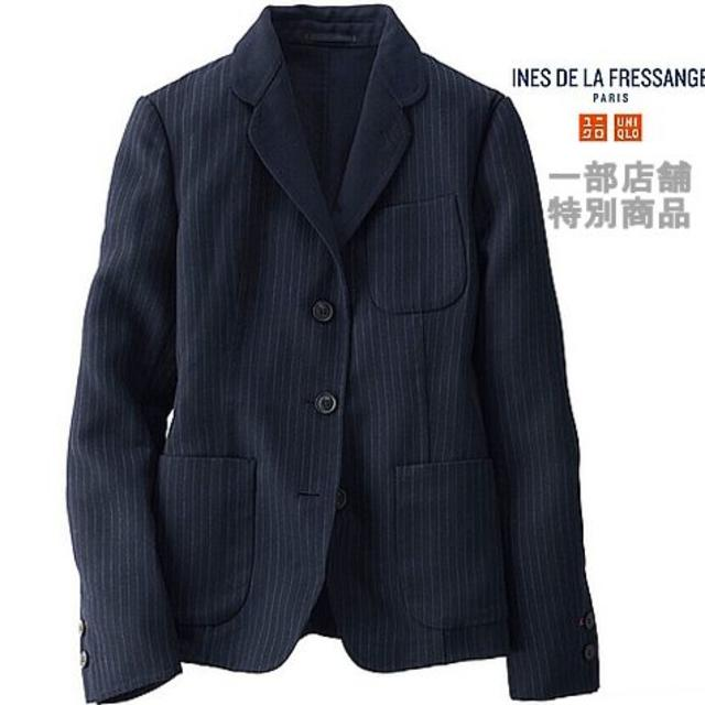 UNIQLO(ユニクロ)の最値下中★1万4千円新品イネス限定ウールダブルフェイスジャケットL紺ストライプ レディースのジャケット/アウター(テーラードジャケット)の商品写真