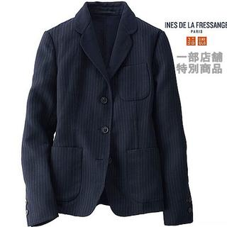 UNIQLO - 最値下中★1万4千円新品イネス限定ウールダブルフェイスジャケットL紺ストライプ