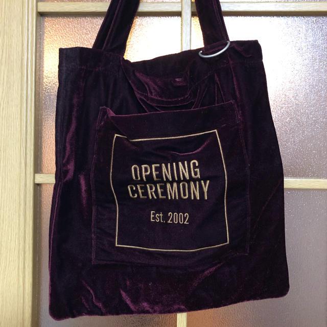 OPENING CEREMONY(オープニングセレモニー)のoc ベロア ボルドートート レディースのバッグ(トートバッグ)の商品写真