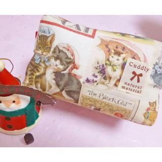 クリスマスプレゼントに♪ヴィンテージキャット キャラメルポーチ(ポーチ)