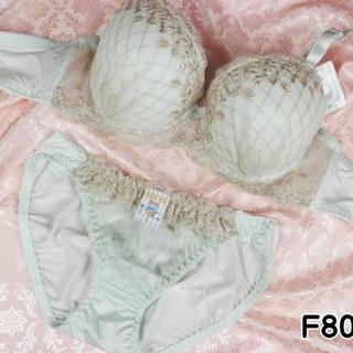 056★F80 L★ブラ ショーツ ダイアチェック刺繍 アイスグリーン(ブラ&ショーツセット)