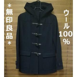 ムジルシリョウヒン(MUJI (無印良品))の【美品】 ウール100% 無印  ショートダッフルコート ブラック 黒  (ダッフルコート)