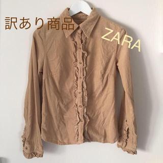 ザラ(ZARA)のZARAザラ*コーデュロイフリル袖シャツ*マロンカラー (シャツ/ブラウス(長袖/七分))