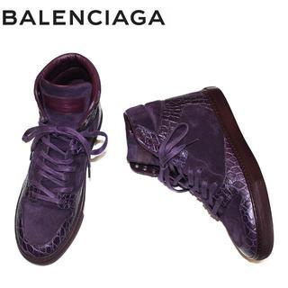バレンシアガ(Balenciaga)の正規品BALENCIAGAカーフ型押スニーカー/パープル/38 ITALY(スニーカー)