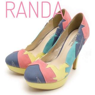 ランダ(RANDA)のRANDA【美品】マルチカラー パッチワーク デザイン ヒール パンプス(ハイヒール/パンプス)