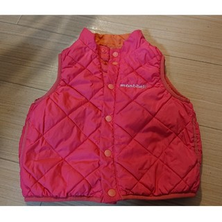 モンベル(mont bell)のモンベル ダウンベスト 80cm 中綿 ピンク オレンジ 女の子(ジャケット/コート)