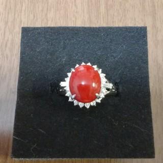 赤珊瑚ダイヤプラチナリング(リング(指輪))