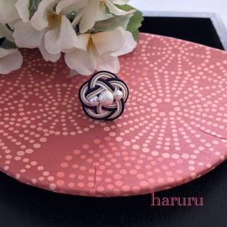 水引の指輪 リング 紺×ベージュ  成人式 振袖 卒業式 袴 浴衣に♪(リング(指輪))