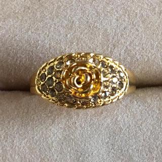 (119)バラとキラキラビジューのゴージャスリング ゴールド  ヴィンテージ(リング(指輪))