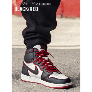 ナイキ(NIKE)のAIR JORDAN 1 RETRO HIGH OG BLACK/RED(スニーカー)