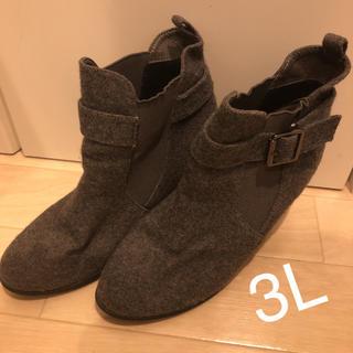 シマムラ(しまむら)のしまむら サイドゴアショートブーツ チャコールグレー  3L(ブーツ)