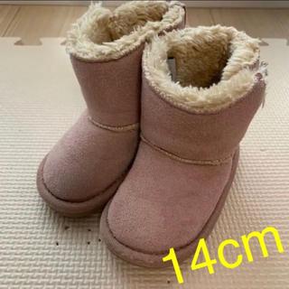 プティマイン(petit main)のキッズ ベビー ♡ ムートンブーツ ピンク 14.0cm(ブーツ)
