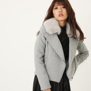 rienda - rienda💄WクロスFaux  Fur Wool MIX ライダースJK