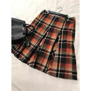 バーバリー(BURBERRY)の美品 バーバリー ロンドン フレア スカート チェック オレンジ(ひざ丈スカート)