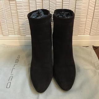 ペリーコ(PELLICO)のPELLICO スエード ショートブーツ  ダークブラウン  サイズ36(ブーツ)