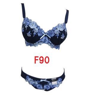 F90/LL・(2色セット) 大花柄刺繍ブラジャー&ショーツ グラマーカップ(ブラ&ショーツセット)