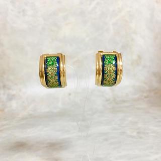 エルメス(Hermes)の正規品 エルメス イヤリング エマイユ 七宝焼き ゴールド 金 フープ グリーン(イヤリング)