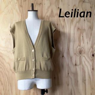 レリアン(leilian)のLeilian ビッグサイズ ニットベスト ウール混 キャメル ゴールド ボタン(ニット/セーター)