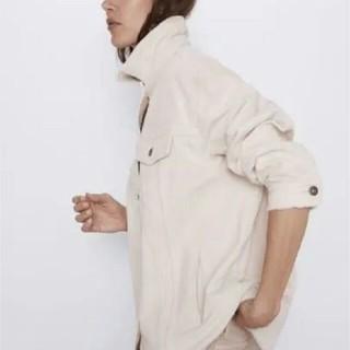 ザラ(ZARA)の ZARA ポケット付きコーデュロイ地シャツジャケット S(ミリタリージャケット)