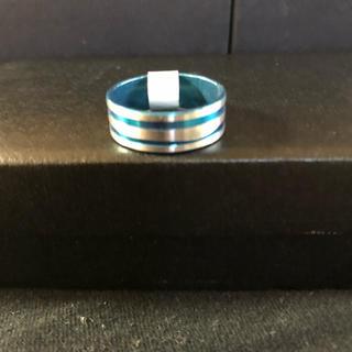送料込み‼︎メンズ指輪‼︎ストライプ‼︎鮮やかブルー19号(リング(指輪))